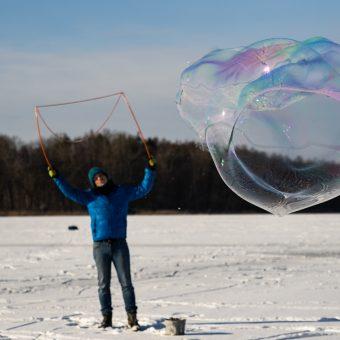soap bubbles in winter.