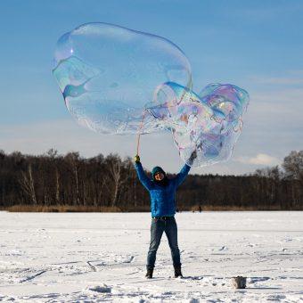 Giant Soap Bubble in Winter